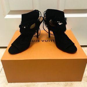Aquazzura Sexy Fringe Black Sandal